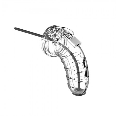 Man Cage 16 Male 4.5 Inch Clear Chastity Cage With Urethal Sound