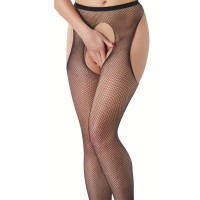 Fishnet Suspender Tights With Open Crotch